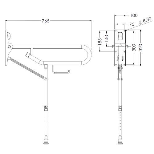Hinged Fold Up Arm Support Adjustable Leg | Byretech Ltd