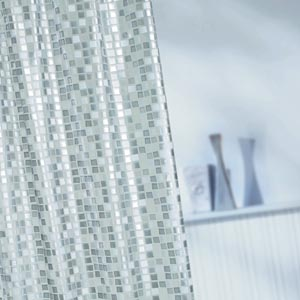 Silver Mosaic Shower Curtain 180cm X