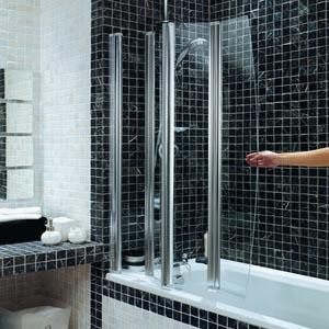 Four Panel Folding Bath Screen Chrome Finish Byretech Ltd